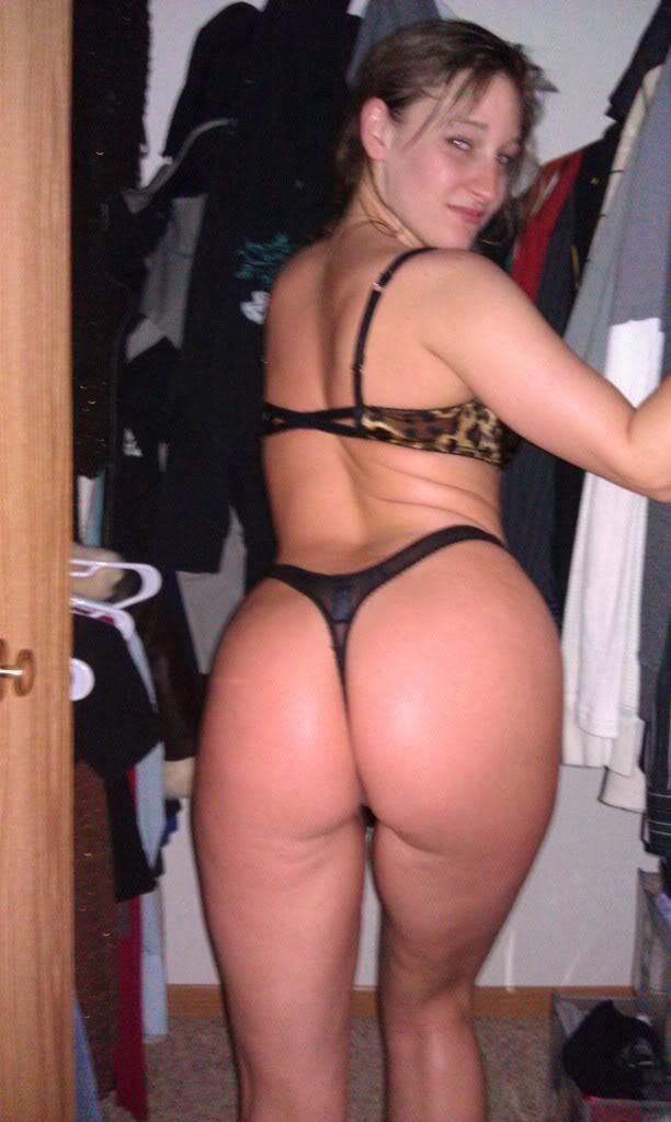 Juicy GF ass in a tiny black thong; Ass Hot
