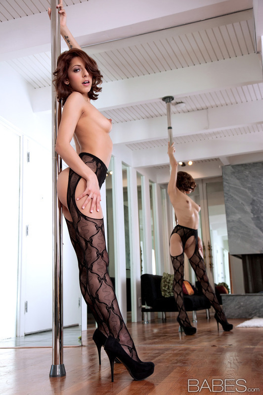 Lexi Bloom practices her pole dancing; Babe Brunette Hot Lingerie Teen
