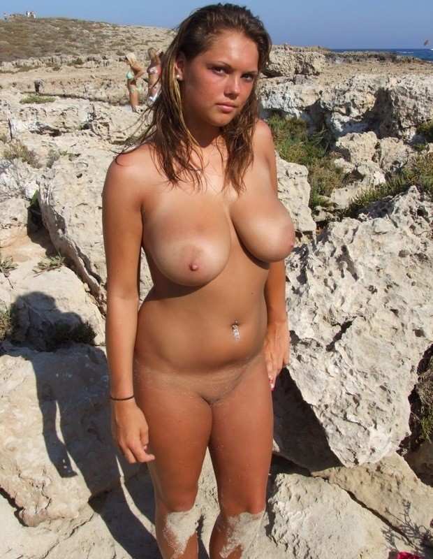 Hot big tit naked girls on beach