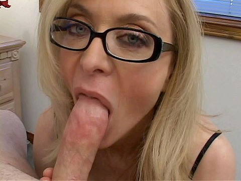Blowjob cum on big tits