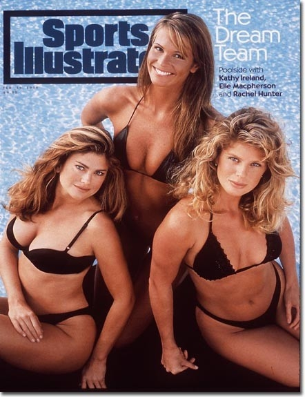 February 14, 1994 - Kathy Ireland, Elle Macpherson and Rachel Hunter.; SFW