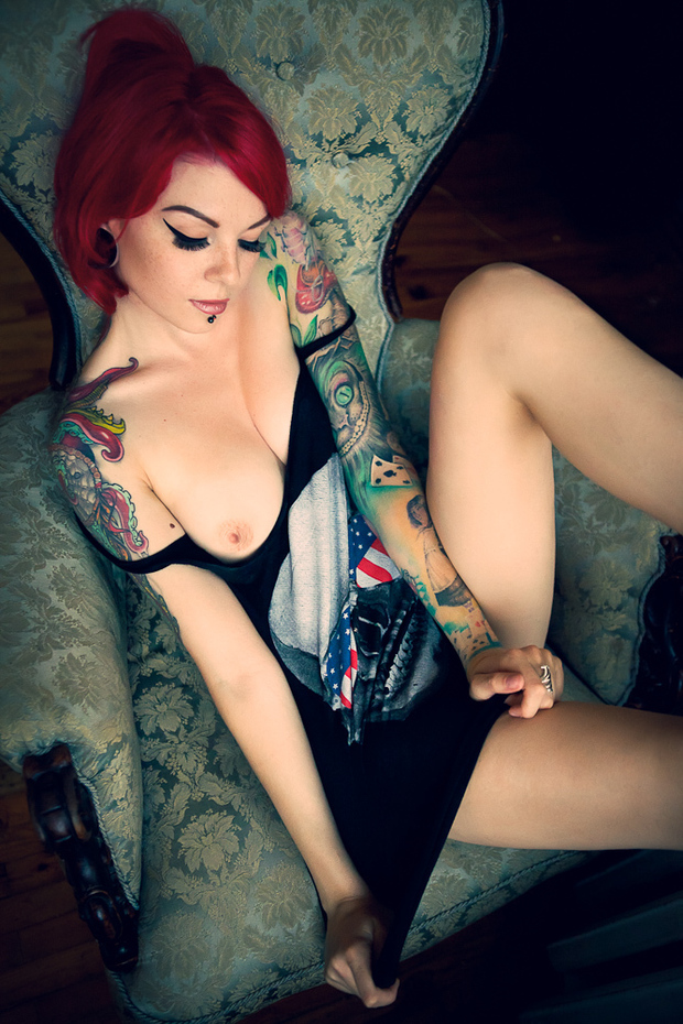 ...; Babe Emo Ink Red Head Tattoo