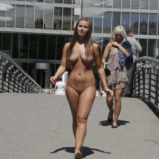 Women walking nude in public