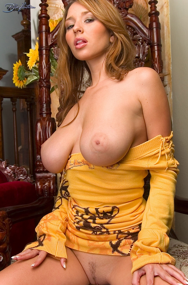 Shay Laren poses in a yellow dress; Babe Big Tits Brunette